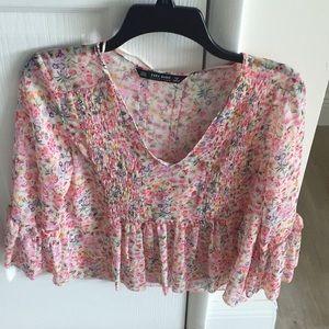 Pink floral Zara Blouse